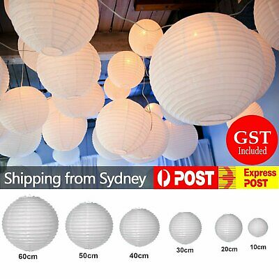 10pcs 10/20/30/40/50/60cm White Paper Lantern lanterns Party Wedding Banquet Dec