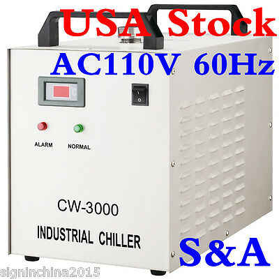 USA Stock! 110V 60Hz CW-3000DG Water Chiller for 60/ 80W Laser Engraving Machine