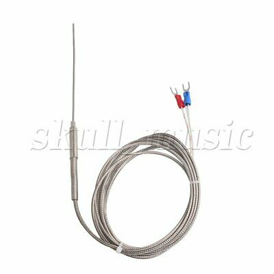 K Type Thermocouple Temperature Controller Stainless Steel Sensor 1.5mm Probe 2m