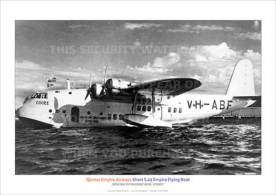 Qantas Short S23 Empire Flying Boat Rose Bay A3 Poster Print Picture Photo Image