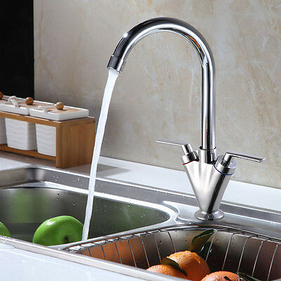 Kitchen Sink Basin Mixer Tap Twin Lever Swivel Spout Chrome Faucet Hot And Cold