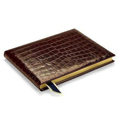 Aspinal of London Safari Croc Guest Book in Amazon Brown Croc Lined Pages
