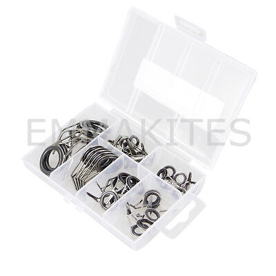Set 35Pcs Fishing Rod Guide Ring Repair Guides Kits for Angling Repairing