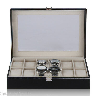 12 Grid Slot Faux Leather Watch Reloj Display Box Case Organizer Jewelry Storage
