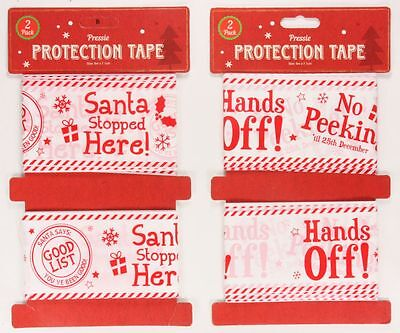 Christmas Present Protection Security Tape Banner 6M x 71CM 2 Pack 2 Designs