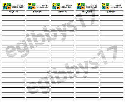 """GeoCache Log Sheet - 2"""" Wide - Print your Own!"""