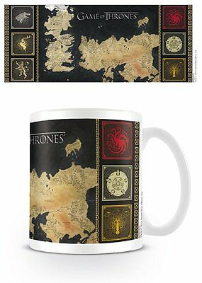Game Of Thrones - Ceramic Coffee Mug / Cup (Map & House Siglis / Crests)