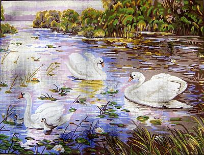 Gobelin L Printed Tapestry/Needlepoint Canvas - Twilight Swans