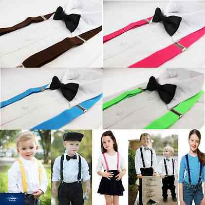 Boys Clip On Suspenders Adjustable & Bow Tie Bowtie Wedding Pageboy Girls Kids