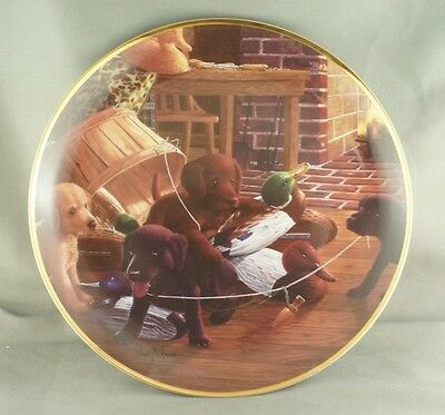 Randy McGovern A Bushel of Trouble Collector Plate Lab Puppies