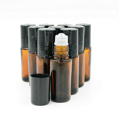 8pcs 5ml Amber Thick ROLL ON GLASS BOTTLE ESSENTIAL OIL Steel Metal Roller Ball