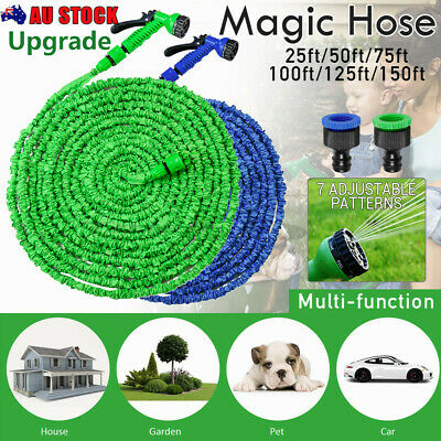Expandable Flexible Garden Hose Pipe Car Wash Spray Gun Nozzle Magic Stretch KIT