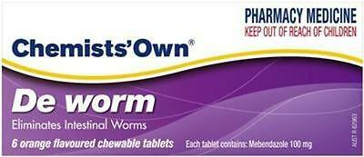 GENUINE Chemists' Own De Worm Chewable 6 Tablets | Mebendazole for Intestinal Wo