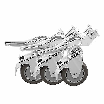 New 3Pcs Universal Metal Caster Wheels For Heavy Duty Light Stand & Studio Boom