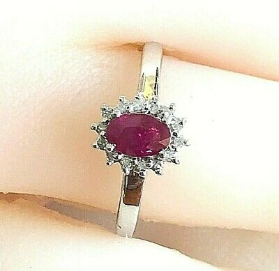 Real Genuine 9ct Solid White Gold Natural Genuine Ruby & Diamond Oval Halo Ring