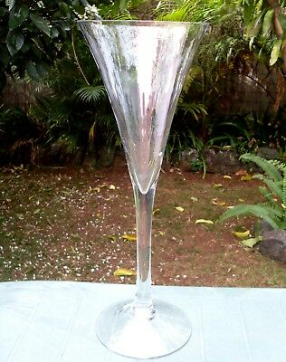 Rare Retro HANDCRAFTED Giant (50cm) TALL CENTREPIECE Flute Wine Glass VG In Aus