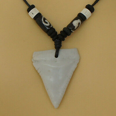 SHARK TOOTH Sea Great White resin pendant w Black Cotton Rope slip knot necklace