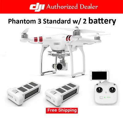 DJI Phantom 3 Standard Quadcopter RC Drone with 2.7K HD Video + 2 Extra Battery