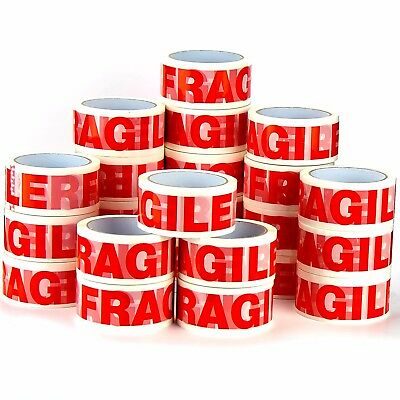 72 Rolls Strong Fragile Printed Packing Parcel Carton Sealing-Tap 50Mm X 66M