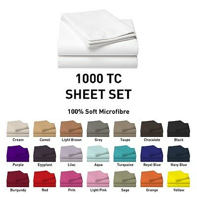 1000TC Microfiber Flat Fitted Sheet Set Single/Double/Queen/King/Super Size e