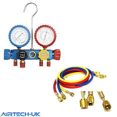 Air Conditioning AC Diagnostic A/C Manifold Gauge Tool Set Refrigeration R-410A