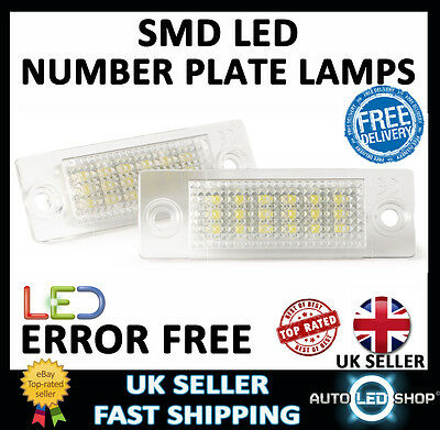 Vw T5 Transporter Xenon White Smd Led Number Plate Lamps Upgrade Bulbs Canbus