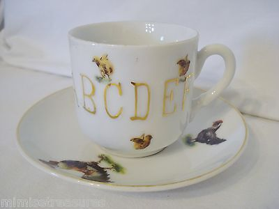 Rooster Chicken & Chicks ABC Cup & Saucer Germany 167 Childs? China