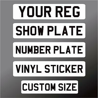 Car Stick On Show Number Plate - Front White & Black Self Adhesive Vinyl Sticker