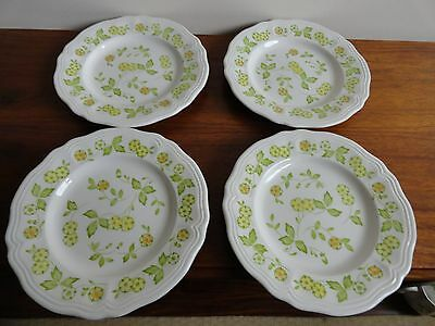 4 Petite Flora Sears Salad Plates Ironstone Japan Green Yellow Flowers 7.5""
