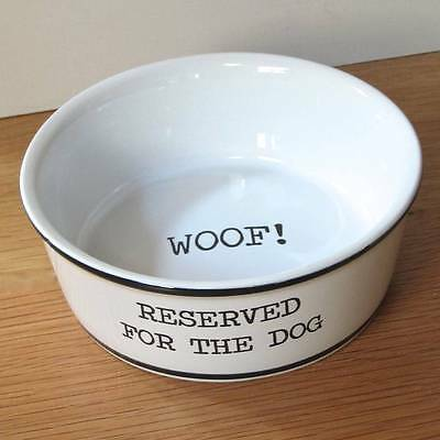 "Ceramic ""Reserved for the Dog"" Bowl Stylish Present for your Special Pet's Food"