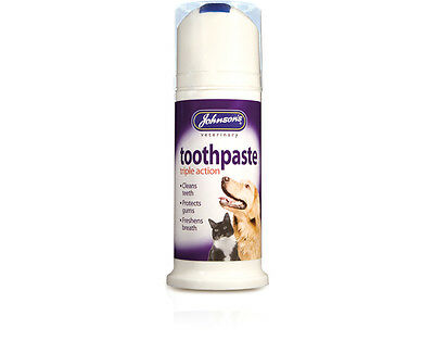 Johnsons veterinary dog cat toothpaste triple action 50ml cleans & freshens