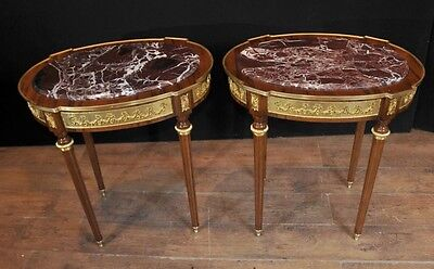 Large French Empire Oval Side Tables Ormolu Marble Topped