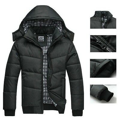 Mens Jacket Warm Thick Hoodie Hooded Cotton Coat Parka Winter Down Outwear Slim