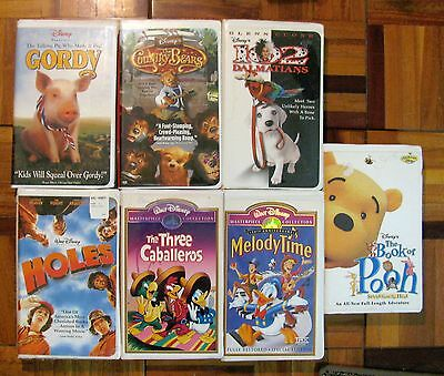 DISNEY 7 VHS MOVIE LOT  (in good condition no moldy tapes) POOH GORDY 102 HOLES