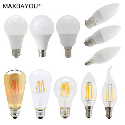 E14 E27 B22 3W 4W 5W 6W 7W 9W LED Filament Candle Bulb Light Globe Lamp Day Warm