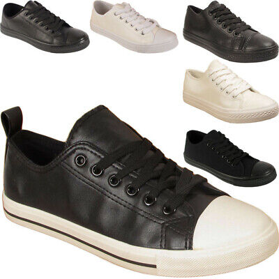 New Mens Womens Lace Up Faux Leather Traiers Pumps Sneakers Shoes Sizes Uk 4-11