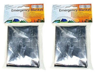 2x Compact Medical Emergency Foil Blanket Silver Aluminum Survival Blanket Sheet