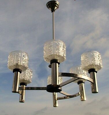 Mid Century Danish Modern Chandelier Chrome Glass Shades Vintage 6 Lights bowls