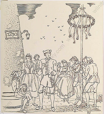 "Karl Alexander Wilke (1879-1954) ""May Fest 1730 (Illustration)"", Ink Drawing"