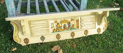 Vintage French Provincial Wooden Coat Hat Rack Farmer Fireplace Crackled Beige