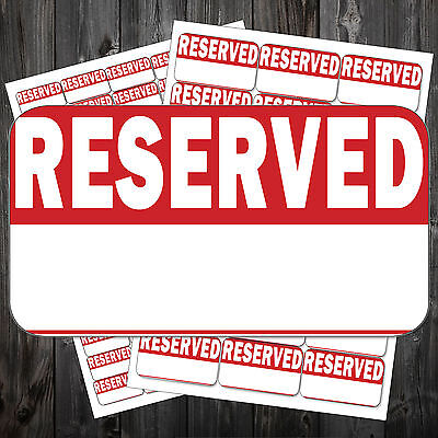 Bright Red RESERVED Stickers Swing Tag Sticky Labels #acp New