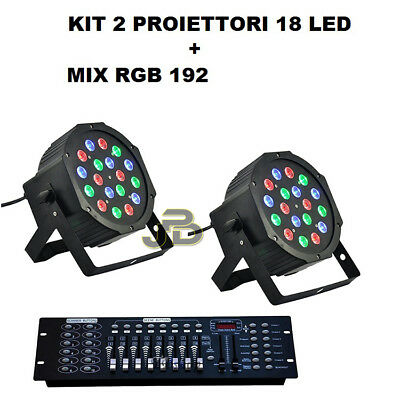 Kit 2x Faro strobo Rgb Par 18 led Wash Programmabile con mixer Dmx effetto Disco