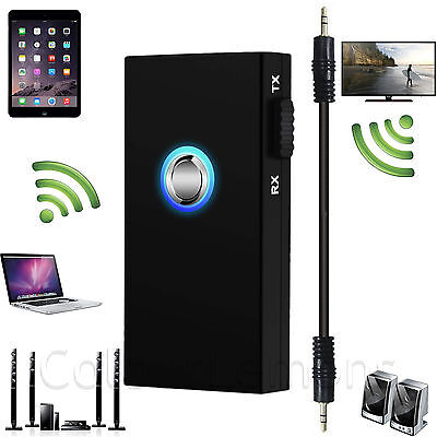 Bluetooth Wireless Audio Transmitter & Receiver 3.5mm Music 2 in1 Adapter PC TV