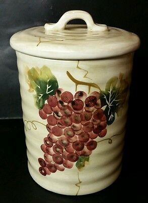 "Tabletops Unlimited ""cabernet"" Medium Canister - Excellent - Tuscan Grapes"