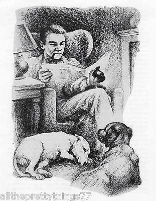 SIAMESE Cat & 2 DOGS & Man w- Pipe by Fireside Picture Vintage 1967 MATTED Print