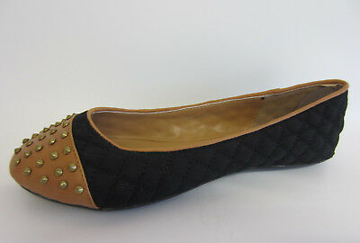 Anne Michelle L4R933 Ladies Black//Nude Studded Toe Flat Dolly Shoes R32B