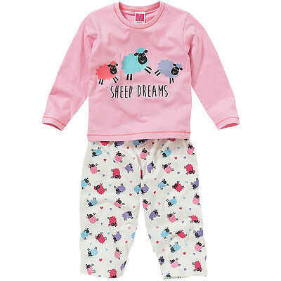 Cozy n Dozy Girls Cute Sheep Dreams Novelty Long Sleeve Leg Cotton Pyjamas Pink