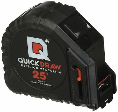 QUICKDRAW 25' Foot Tape Measure - 1st Measuring Tape w/ a Built In Pencil, Black