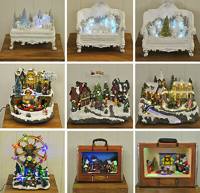 Miniature Christmas Scene Ornaments with LED and Fibre Optic Lights