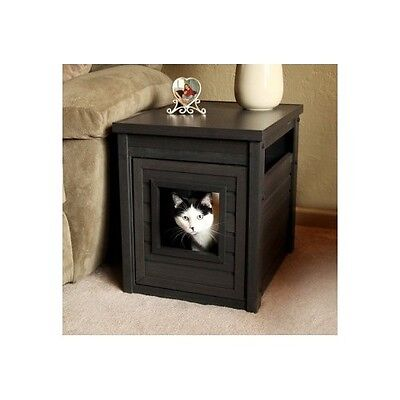 Hidden Kitty Litter Box End Table Large Cat Furniture Discrete Odor Resistant !